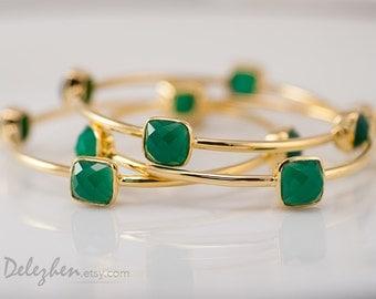Green Onyx Bangles-  Green Onyx Bracelet - Gemstone Bangles - Stacking Bangles - Gold Bracelets