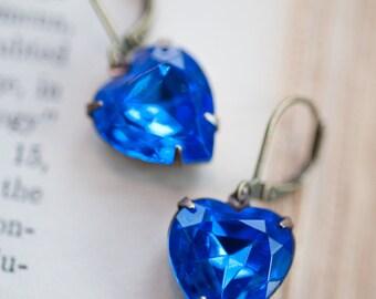 Sapphire Blue Estate Style Vintage Earrings, Wedding Jewelry, Bridal Earrings, Something Blue
