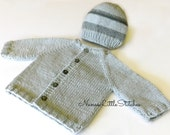 knit Baby BOYS Sweater Hat / Made to Order 0 to 3 Months by nana'slittlestitches