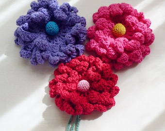 Crochet Pattern Peony Flower, or Sunflower PDF - hair brooch, hat embellishment, shawl pin, accessory - Easy Crochet - Instant DOWNLOAD
