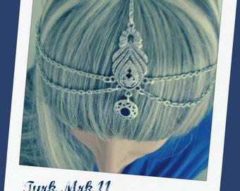 Headpiece Head Jewelry Hair Jewelry Burning Man Festival Headchain Boho Headpiece Gypsy Chain Headpiece Headband Headdress Blue Turk Mrk 11
