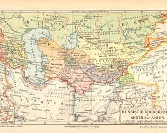 1897 Antique Map of Russian Conquests in Central Asia