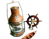 Vintage Ships Lantern Copper Anchor Oil Lamp Nautical