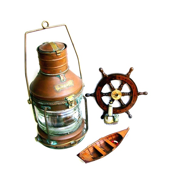 Vintage Ships Lantern Copper Anchor Oil Lamp Nautical