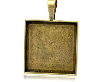 Bezel | Cabochon Setting : 5 Antique Bronze Square 25mm Cabochon Settings | Pendant Trays -- Lead, Nickel & Cadmium free 14144.H4K
