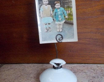 Photo or Recipe Card holder from old sugar or creamer bowl lid