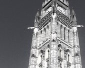 Peace Tower of Canada, Gothic Architecture Black and White Photo, Panoramic 16x9