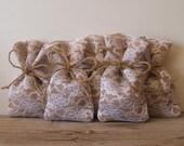 Burlap favor bags(100 pc) rustic wedding favor bag (3x5inch) burlap lace favor bag natural jute bow