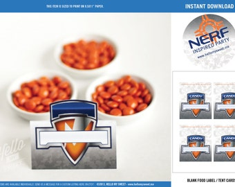 Nerf Labels - INSTANT DOWNLOAD - Printable Birthday Party Decorations - Food Tags, Tent Cards - Blue Orange