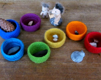 Waldorf Rainbow bowls / kids felt toy / eco friendly toys / desk organizer / waldorf soft toys / educational toy / waldorf baby toys