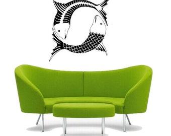 Ying Yang Fish Wall vinyl DECAL- fish ocean lake sea Animal interior design, sticker art, room, home and business decor