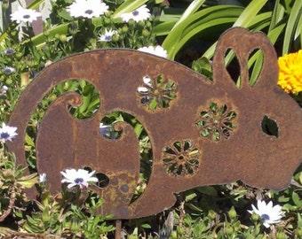 Bunny Easter Flower Rabbit Rusty Metal Garden Art Spring