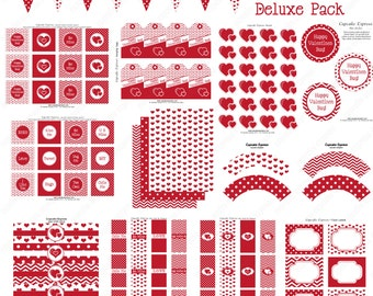 Be Mine Valentines Day Party Sale 70% off  diy PRINTABLE Deluxe Package INSTANT DOWNLOAD Pink red grey hearts  chevron- Cupcake Express