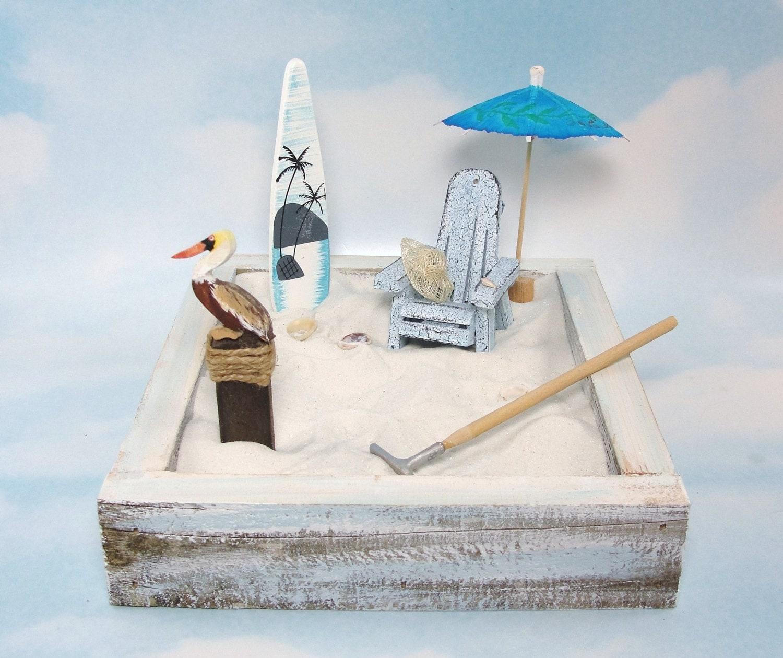 Miniature zen beach garden kit crackle paint adirondack chair for Jardin zen miniature