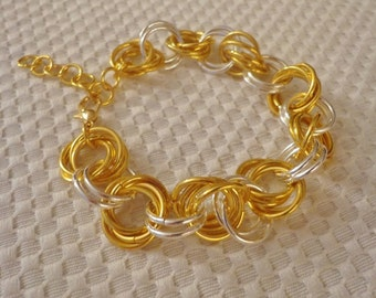 Handmade Rosette Chainmaille Bracelet in Gold and Silver Tone