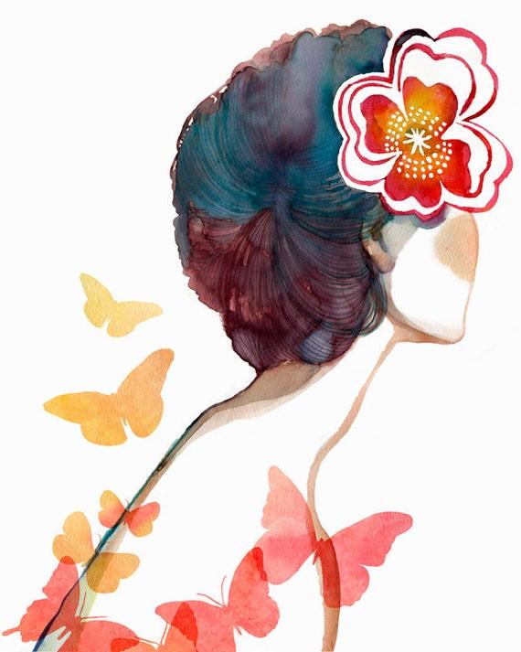 "Girl with butterflies, and red flower art print - ""Wish We Were Butterflies"""