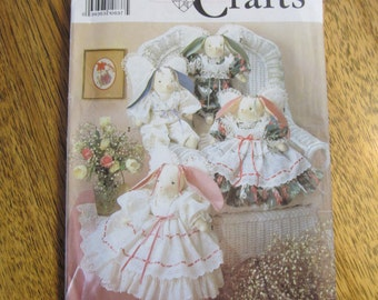"DESIGNER 18"" Angel Bunnies and Ruffled Victorian Dresses for EASTER - UNCUT Sewing Pattern Simplicity 7044"