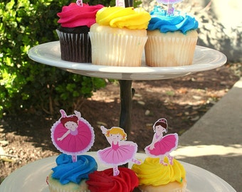 Ballerina Party Cupcake Toppers Set of 12