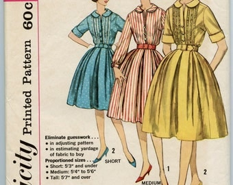 1960s Vintage Sewing Pattern Simplicity 3796 Dress Pattern Misses One-Piece Shirtwaist Dress in Proportioned Sizes Bust 36