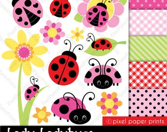 Lady Ladybug - Clipart and Digital Paper Set