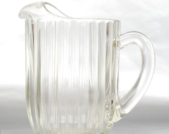 Vintage 1940s Fluted Glass Pitcher with Hobnail Base, Water Tea ,Daiquiri, Margarita, Bloody Mary, Summer Patio, Barware