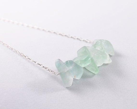 Rough stones necklace - natural raw gemstone necklace, green fluorite necklace, 925 sterling silver chain