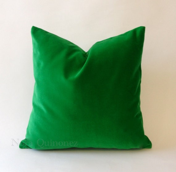 Kelly Green Cotton Velvet Pillow Cover Decorative Accent