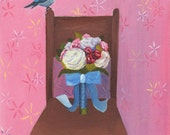 Still Life - Little Blue Bird, Original oil painting, by Shannon Olson