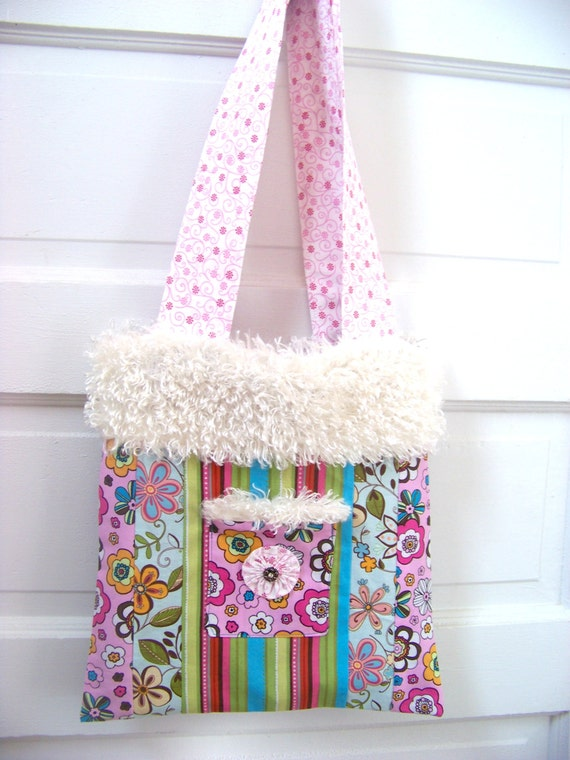 Fun Flower Print Cotton Purse / Large  Purse / Purse With Long Strap / Hobo Bag / Flower Child / Flower Child