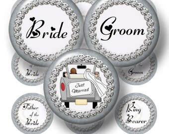 Wedding Party, Bottle Cap Images, Digital Collage sheet, 1 Inch Circles, Printable, Instant Download, Cupcake Toppers, Bride, Groom
