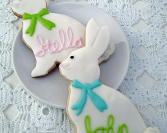 Easter Bunny Sugar Cookies - Personalized - 2 Large Cookies