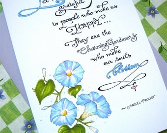Floral Thank You Card - Gratitude Quote - Card for Friend - Morning Glory Card - Let Us Be Grateful