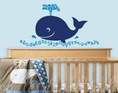 "Alphabet Whale Vinyl Wall Decal - Playroom Decal - Ocean Beach Art for Kids Room - Alphabet Sticker - 20.5"" x 37"" - Nursery Wall Art"