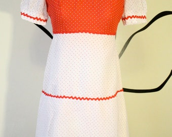 adorable xs 70's polka dot tiered cotton dolly dress