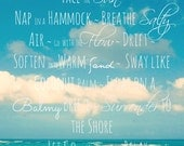 Beach Quote Photography | Beach Photo Wall Art | Turquoise Ocean, Blue Sky, Clouds, Inspirational Quote | Beach Quote Art | Beach Life Print