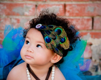 ADD ON Real Peacock Feather Eye Fascinator Headband Baby Girls Toddler Womens on Black Lace Elastic Band