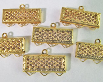 6 Vintage 18mm Gold Plated Three-Strand Filigree Brass Connectors Con114
