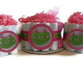 Twin Peas in a Pod Diaper Cake Party Pack - twin girls boy neutral both - baby shower gift decoration green pink blue bow tie