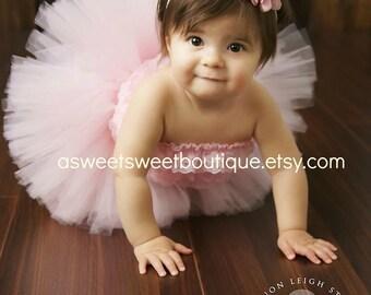 First Birthday Tutu Baby Tutu Pink Tutu Newborn Tutu Sweet Pink Party Tutu And Headband Set