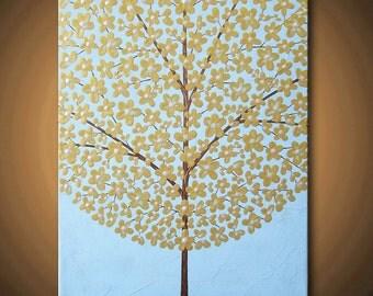 Painting Gold Tree Flower Blossom Yellow Sky Blue Acrylic Metallic Flowers 14x11 High Quality Original Modern Fine Art