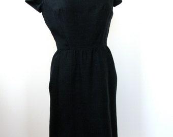 Vintage 1950's Duopoini Silk Wiggle Dress