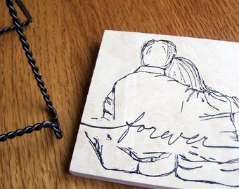 decorative tile with easel stand - couple forever