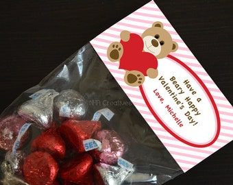Personalized Valentine's Day Treat Bag Topper - Bear with Heart - DIY Printable Digital File