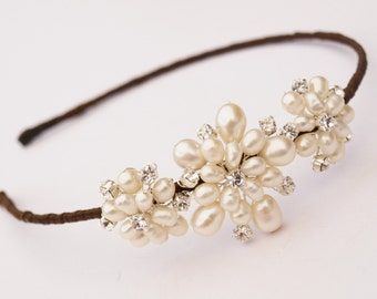 Pearl Bridal Side Tiara Ivory Pearl Wedding Hair Accessories Bridesmaids Headdress Vintage Style Brooch Headband Etsy UK Floral Hair Band