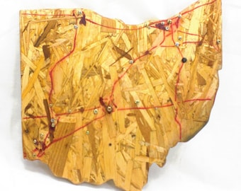 Ohio Wall Map - Industrial Wall Art with Upcycled Material