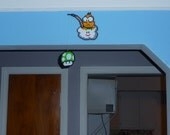 Super Mario Bros. Perler Bead Lakitu and 1up Mushroom on a sting - Wall Hang - 1up mushroom - nintendo