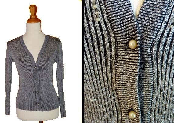 1960s METALLIC cardigan / fitted sweater gunmetal silver gray s / med