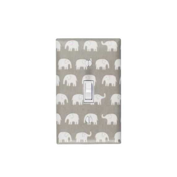 Gray Elephant Light Switch Plate / Baby Nursery Decor Gender Neutral / Japanese Fabric / Slightly Smitten Kitten