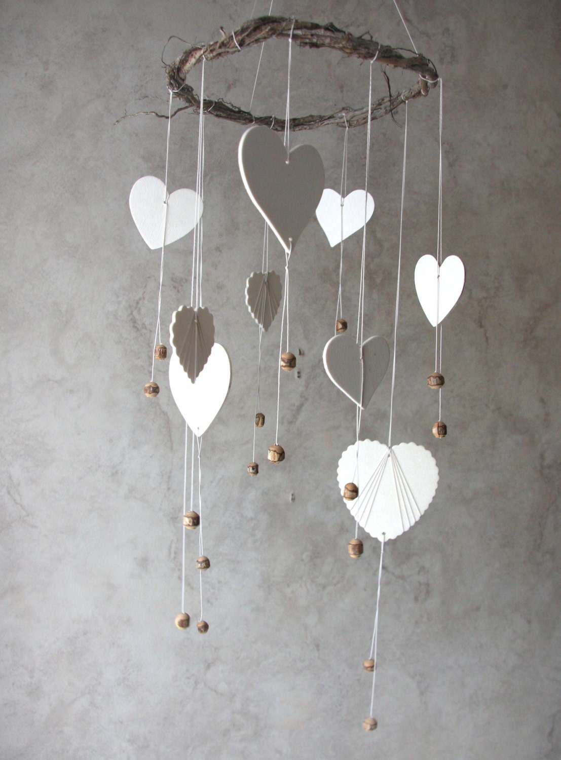 Woodland mobile heart mobile home decor nursery room for Handmade home decorations