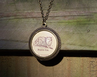 Mother's Day Gift--Angora Cat Necklace--Vintage Dictionary Print--Handmade Cabochon Necklace--Cat Gift Cat Lover